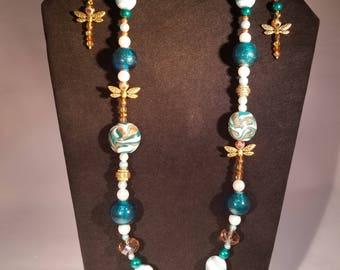 Dragon Fly Transformation in Blue-green and Gold Necklace and Earrings