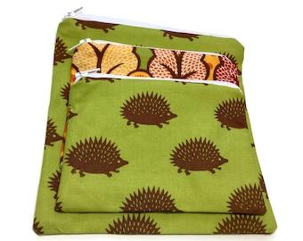 Zipper Sandwich Snack Bags Set Of 2/3 Hedgehogs Abstract Trees Green BrownRed Orange