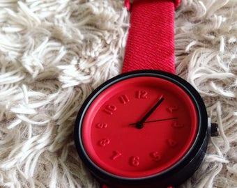 Waterproof Color Block Orange & Red Watch