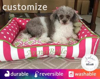 Princess Dog Bed | Hot Pink, Green, White, Personalized | Stripes, Polka Dot, Suzani, Damask, Cute & Classy!