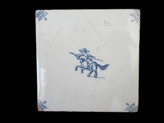 Decorative Ceramic Tile Trivet, Cream and Cobalt Blue, Horse and Rider, Blue Kitchen Decor