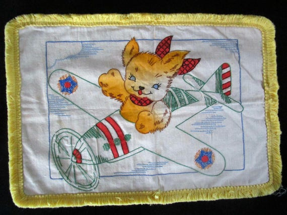Vintage Childs Pillowcase, Pillow Cover, Embroidered Sham, Toddlers Pillow Cover, Golden Bear Flying Airplane, Yellow Fringe, 1930s