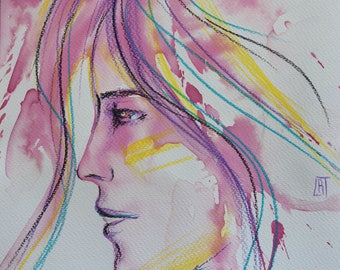 """""""Sunny""""vegetable ink and colored pencils - portrait profile"""