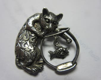 Sterling Silver 925 Cat & Fish Pin Brooch