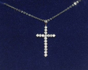 Jackie Kennedy PP Cross Necklace - Platinum Plated Crystal Cross, Box and Certificate