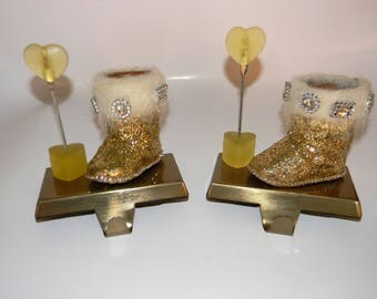 set gold glitter boot with heart shaped photo holder on brushed gold stocking holder