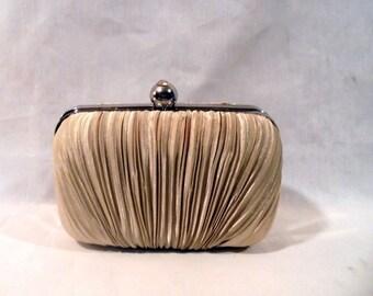 Jacqueline Ferrar Evening Hand Bag Rhinestone Clasp Metallic Gold Pleated