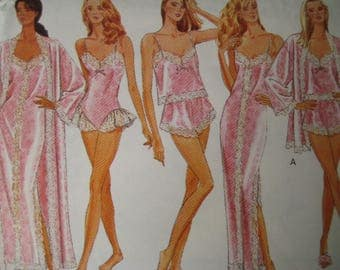 Vintage Lingerie Sewing Pattern Butterick 6985 Ladies Teddy Robe Camisole Panties Nightgown Plus Size 16 18 20 22 or 6 8 10 12 14 Uncut