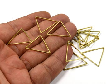 100 Pcs. Raw Brass 24x24 mm Geometric Equilateral Triangle Findings