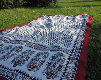 Table Cloth, Turkish Traditional Black White, Small Rectangle Tablecloth,  Lawn Picnic Park Beach