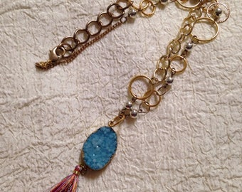 Mixed chains & beads druzy tassel necklace