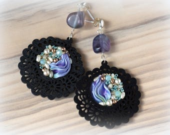 Shibori Earrings, Handmade Earrings, Hand Embroidered, silk Jewelry, Handmade in Italy, OOAK
