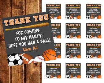 All Star Sports Favor Tags - All Star Sports Gift Tags - Sports Thank You Tags - All Star Sports Birthday - All Star Favor Tags, Soccer