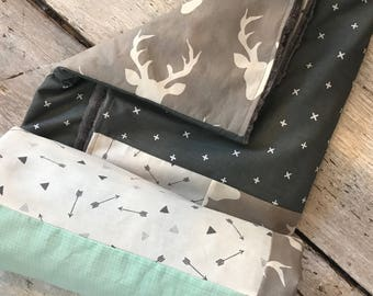 Baby crib blanket, quilt style , deers, grey and light blue
