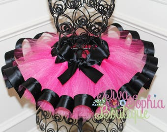 Hot Pink and Black Ribbon Tutu
