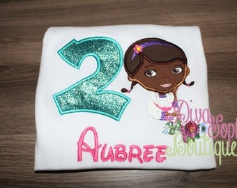 Doc McStuffins Birthday Top - Embroidered