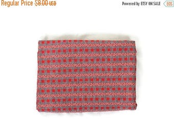 ON SALE Vintage Red /Grey Retro Printed  Fabric from 70's / for supplies/creativity/66 x 49*