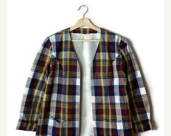 ON SALE Vintage Colorful Tartan Plaid/Checked Cotton Cardigan Jacket/Collarless Blazer from 70's*