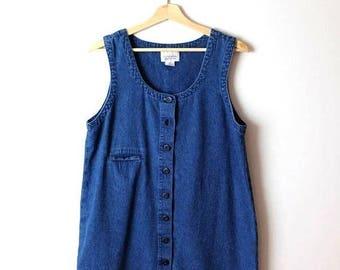 ON SALE Vintage Denim  Button down Sleeveless Mini Dress from 90's*