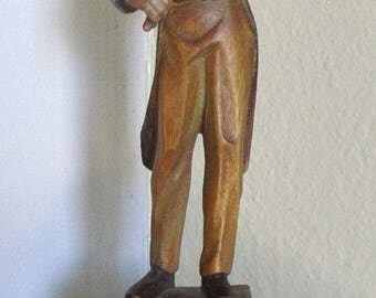 Violinist Musician Wood Carved Music Folk Art Sculpture Plays Romance Beethoven Ruege Swiss Movement