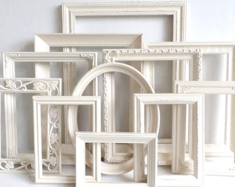antique white picture frames set nursery frames wedding vintage collection shabby chic - White Picture Frame Set