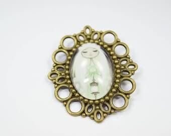 Brooch Glass Metall Fairy