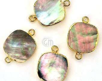 30% OFF 22k Gold Electroplated Abalone, 16mm Square Double Bail Gemstone Charms Necklace Connector / Pendant 1pc (SEE-10160)