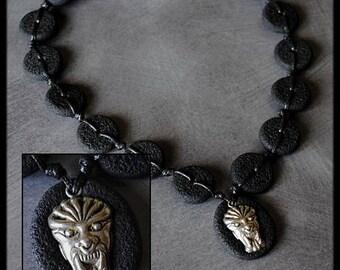 Necklace ethnic black lava stone effect