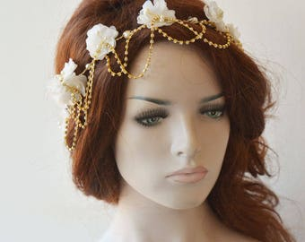 Gold  Wedding Hair Vine,  Gold Bridal Head Piece, Flower Hair Vine, Wedding Headband, Hair Jewelry, Hair Accessory