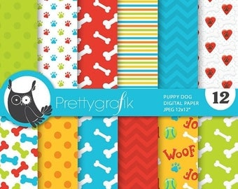 80% OFF SALE Puppy dog digital papers, commercial use, scrapbook papers, background, bones, paws - PS700