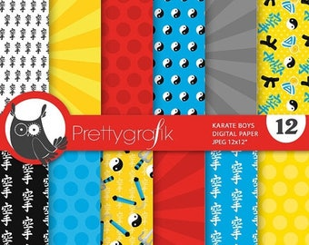 80% OFF SALE Karate kid digital paper, commercial use, scrapbook papers, background chevron, stripes - PS732