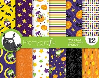 80% OFF SALE Halloween owls digital papers, commercial use, scrapbook papers, background  - PS751