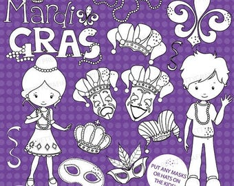 80% OFF SALE Mardi gras stamps commercial use, vector graphics, digital clip art, digital images - DS640