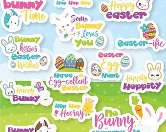 80% OFF SALE Easter Word Art clipart commercial use, Easter lettering vector graphics, easter monogram clip art, digital images - CL1076