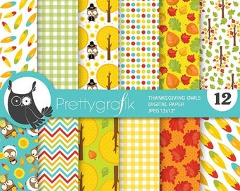 80% OFF SALE Thanksgiving owls digital paper, commercial use, scrapbook papers, background chevron - PS764