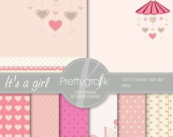 80% OFF SALE baby girl digital paper, commercial use, scrapbook papers, background  - PS542