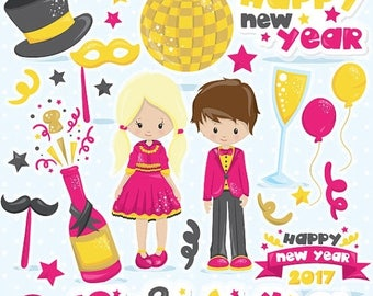 80% OFF SALE New Year clipart commercial use, New year's clipart, vector graphics, party digital clip art, party digital images  - CL1052