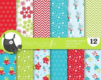 80% OFF SALE Christmas fairies digital paper, commercial use, scrapbook papers, background, christmas - PS768
