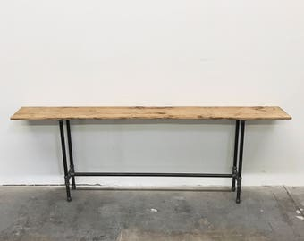 """Henry Console Table 72"""" Reclaimed Wood and Steel Pipe Modern Industrial Vintage Furniture"""