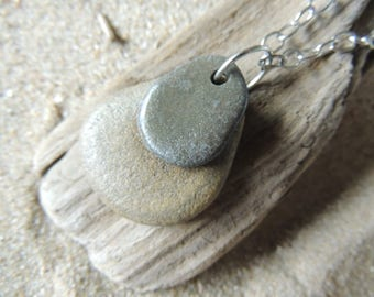Handmade All Natural 2 Beach Stone Drop Pendant on Silver Chain Original