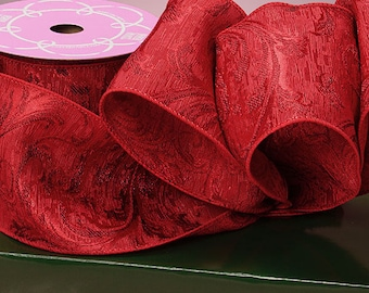 Red Woven Damask Ribbon - 4 Inches Wide - Wired Edges - 10 yard spool