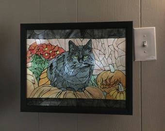 Black Cat Autumn Scene - Pumpkin - Jack-o-lantern - Mum - Mosaic Watercolor Lightbox