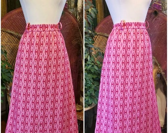 Vintage 60's 70's Patterned Knit Long Skirt