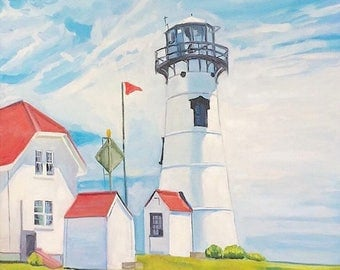 Chatham Lighthouse, Cape Cod, Oil painting