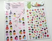 Sales : Japanese Doll and Fruit Sticker - 2 sheets