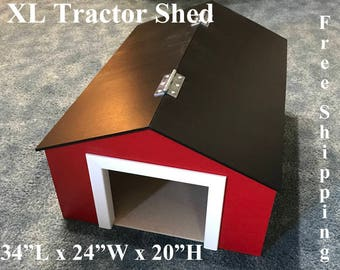XL Wooden Tractor Machine Shed (Matches the XL Wooden Toy Barn & XL Wooden Toy Stable we offer)