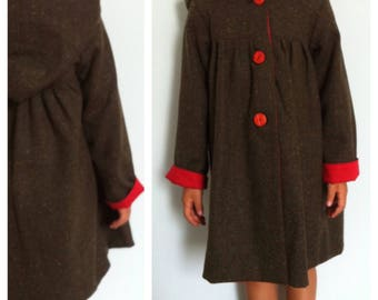 light green wool handmade baby coat double lining cotton solid color red with