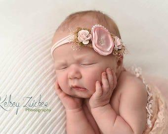 Baby pink Headband, pink rose nylon Headband, Small vintage baby headband, pale pink, Newborn, babyshower hair accessory,  Photo prop