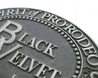 Black Velvet Whiskey Belt Buckle - Spirit of Pro-Rodeo - Canadian Whiskey Cowboy Belt Buckle 1979