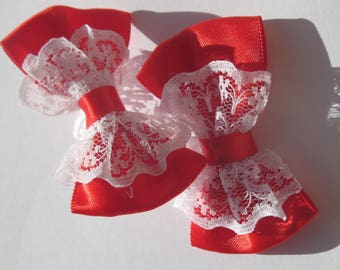 2 big bows fabric and lace 5.5 cm long approx (A220)